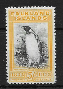 FALKLAND ISLANDS SG136 1933 CENTENARY 5/= BLACK & YELLOW VLMM