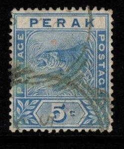 MALAYA PERAK SG64 1892 5c BLUE FINE USED