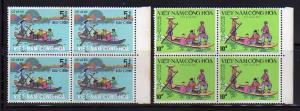South Vietnam 466-467 Blocks of 4 Set MNH Sampan Ferry (A)