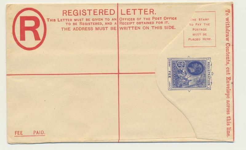 BARBADOS 1912, 2½d REGISTERED ENVELOPE, VF UNUSED (SEE BELOW)