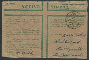 NEW ZEALAND FORCES IN EGYPT 1942 censor Honour Envelope to NZ..............42872