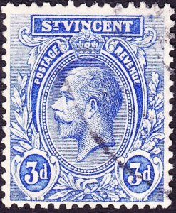 ST VINCENT 1922 KGV 3d Bright Blue SG134 FU