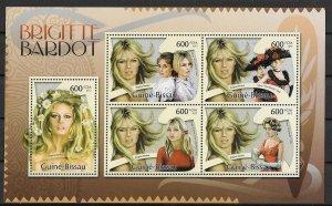 Guinea-Bissau MNH S/S Brigitte Bardot Actress 2012 5 Stamps