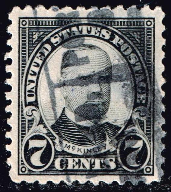 US STAMP #559 – 1923 7c McKinley, black MH/OG used XFS SUPERB SMQ $120