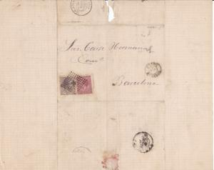 Spain 19th century stamps cover Ref 8378