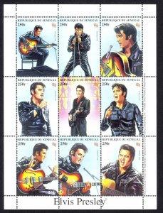 Senegal Sc# 1350 MNH Pane/9 (ITILIA 98) 1999 Elvis Presley