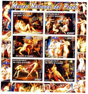 Titian Rubens NUDES PAINTINGS sheet (6) perforated Mint (NH)