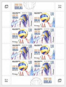 Stamps Bosnia and Herzegovina Mostar 2019 - Sports - Volleyball - Sheet.