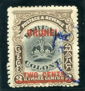 Brunei 1906 KEVII 2c on 3c black & sepia very fine used. SG 12. Sc 2.