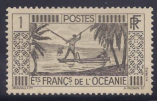 French Polynesia # 103 MLH - 1934-40 1fr Spear Fishing