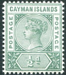 CAYMAN ISLANDS-1900 ½d Pale Green Sg 1a LIGHTLY MOUNTED MINT V30277