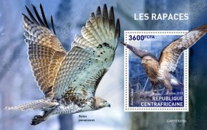 CENTRAL AFRICAN REP. (CENTRAFRIQUE) / 2019 Birds of prey. BLOK.