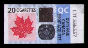 CANADA 2011 DUTY PAID TAX STAMP 20 CIGARETTES TOBACCO REVENUE QC (QUEBEC)