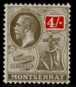 MONTSERRAT GV SG82, 4s black & scalet, M MINT. Cat £15.