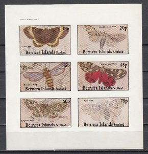 Bernera Is. 1982 Local issue. Various Moths, IMPERF sheet of 6.