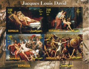 Somalia 2003 Jacques Louis David NUDES Paintings Sheet Imperforated Mint (NH)