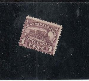 NEW BRUNSWICK # 6 FVF-MH 1cts  LOCOMOTIVE/ RED-LILAC/MAY 15,1860 CAT VALUE $30