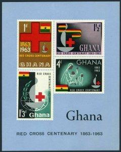 Ghana 142a sheet, MNH. Michel Bl.8. Red Cross Centenary, 1963. Globe.