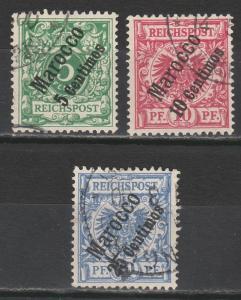 GERMAN MOROCCO 1899 EAGLE OVERPRINT 5PF 10PF AND 20PF USED
