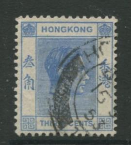 Hong Kong - Scott 161B - KGVI Definitive  -1938 - FU - Single 30c Stamp