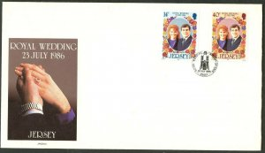 JERSEY Sc#404-405 1986 Prince Andrew Wedding Complete Set Unaddr FDC
