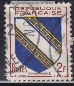 France 698 USED 1953 Arms of Champagne 2Fr