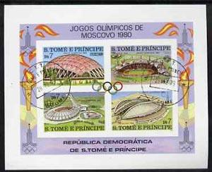 St Thomas & Prince Islands 1980 Olympic Stadia imperf...