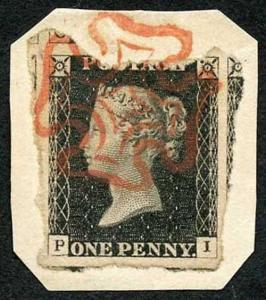 Penny Black (PI) Plate 2 SUPERB Red Cross Torn from the sheet