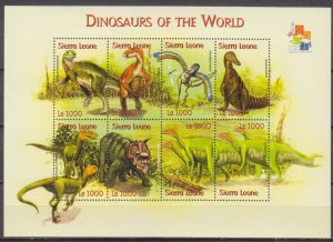 Sierra Leone MNH S/S 2482 Dinosaurs 2001 8 Stamps