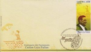 Costa Rica Carlos Luis Fallas, Author, Sc 625 FDC 2009
