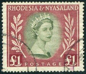 RHODESIA & NYASALAND-1954-56 £1 Olive-Green & Lake Sg 15 FINE USED V48398