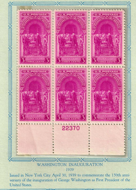 US STAMP #854 – 1939 3c Inauguration of Washington  MNH PL# BLK OF 6