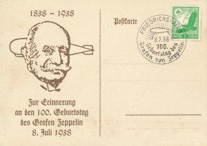 Card Zeppelin 1938 Airship Germany Zeppelin 100 Birthday