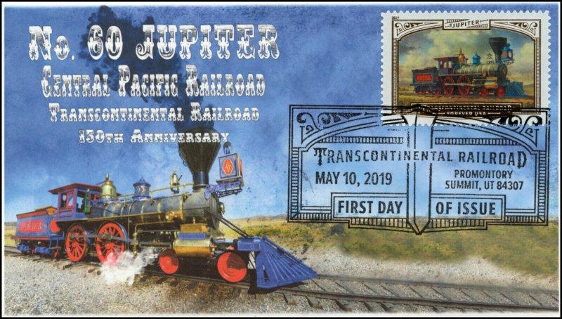19-097, 2019, Trans Continental Railroad, Pictorial Postmark, FDC, Jupiter