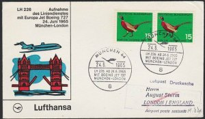 GERMANY 1965 Lufthansa first flight cover to London UK......................H283