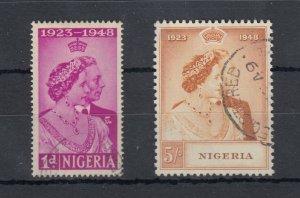 Nigeria KGVI 1948 Silver Wedding Set SG62/63 VFU J8411