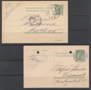 Austria H&G 152, 190 used 1906 & 1908 5pf green Postal Cards, VF