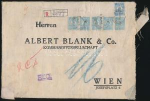 Romania stamp Registered Bank letter to Vienna 40 Lei franking Cover WS231420