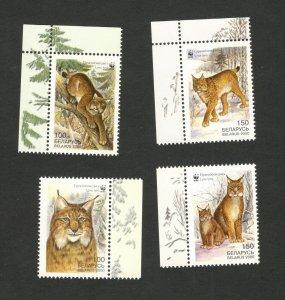 BELARUS-MNH SET - Wild animals Mammals WWF Lynx-2000.