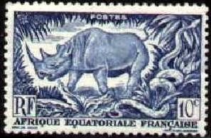 Black Rhino, Rock Python, French Equatorial Africa SC#166 Mint