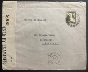 1943 Haifa Palestine Censored Commercial Cover To Ottoman Bank Alexandria Egypt