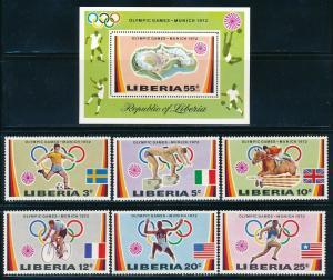 Liberia - Munich Olympic Games MNH Set #591-6 (1972)