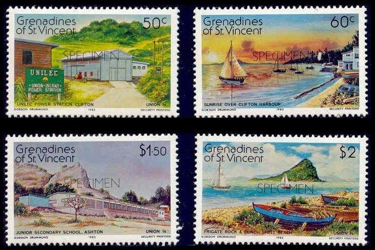 St. Vincent Grenadines 1983 Union Island w/ SPECIMEN Ovpt (Scott # 267-270)
