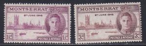 Montserrat # 104-105, Peace Issue, some acid staining on backs, NH, 1/3 Cat.