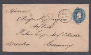 **US Florida Postal Stationery Cover SC# U377, Key West FL 12/11/1902 To Germany