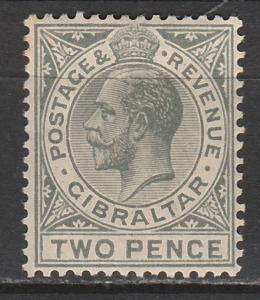 GIBRALTAR 1912 KGV 2D WMK MULTI CROWN CA
