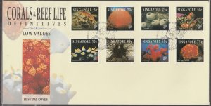 Singapore 1994 Corals and Reef Life Definitive (Low value) FDC SG#742-749