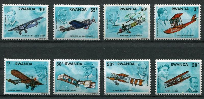 RWANDA 1978 AVIATION - WRIGHT BROTHERS - CHARLES LINDBERGH SET MINT COMPLETE!
