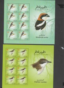 O) 2009 QATAR, BIRDS, MINISHEET FOR 6, MNH