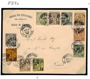 MONACO Cover VALUES To 1 Fr High Value Super Usage France 1896{samwells}F21a